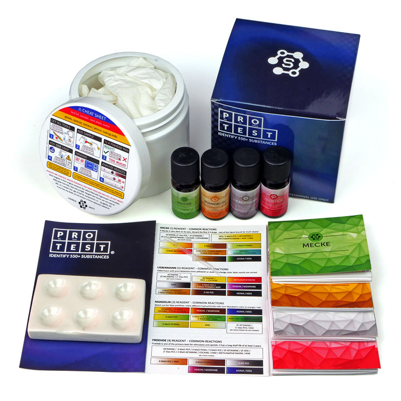 Ketamine test kit with Mandelin reagent, Mecke, Liebermann and Froehde