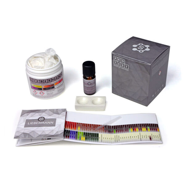Liebermann reagent test kit includes the reagent, a spatula, a reaction plate, instructions and reaction color chart