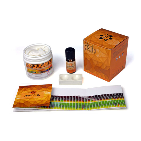 Mandelin reagent test kit includes the reagent, a spatula, a reaction plate, instructions and reaction color chart
