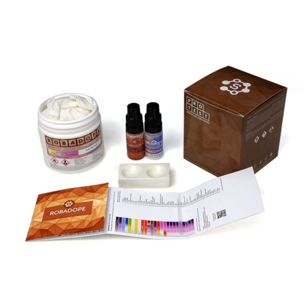 Robadope reagent test kit includes the reagent, a spatula, a reaction plate, instructions and reaction color chart
