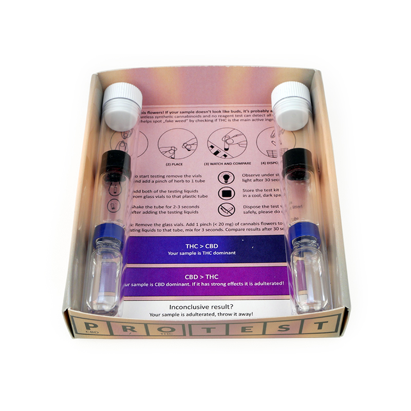 Fake Weed test kit with 4 vials for 2 tests